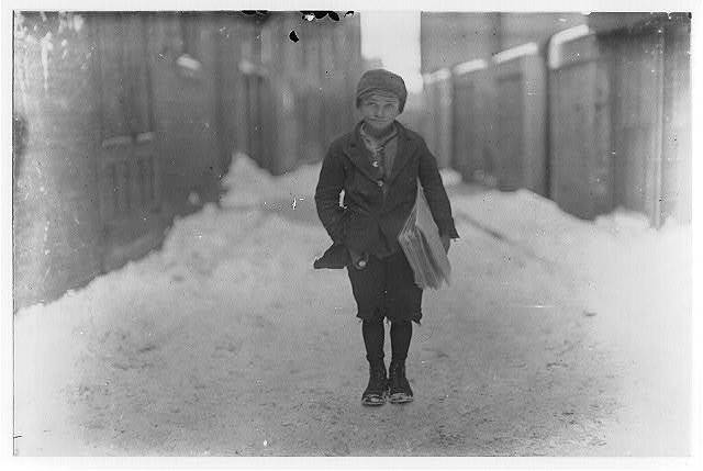 5:00 P.M. on a cold day. Frank Luzzi, a 10 years old newsie, who has been selling for 2 years. Begins at 5 A.M. sometimes and sells until 8 P.M. at times. Hartford, Conn.  Location: Hartford, Connecticut.