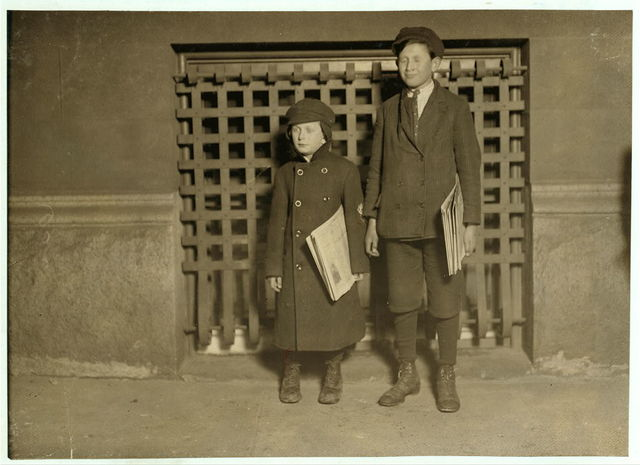 8 P.M. Harry Laudeman, 13 years old. Has sold papers for 7 years. Brother, Morris, 7 years old 46 inches high. Beginning. Hartford, Conn.  Location: Hartford, Connecticut.