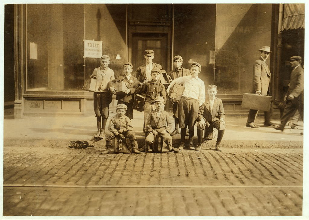 #880 A Group of Boot-Blacks in Bowdoin Square, a Passing Juvenile Industry.  Location: Boston, Massachusetts.