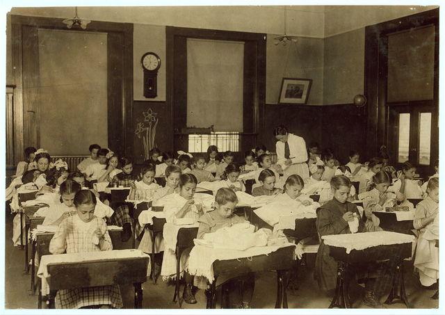 A Busy Hour--The steamer Class in the Hancock School. Boston 1915 Exhibit.  Location: Boston, Massachusetts.