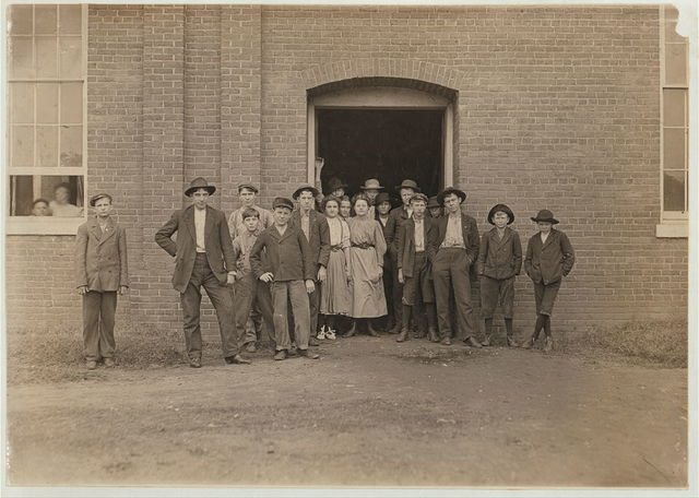 A few of the youngsters in King Mfg. Co., Augusta, Ga. Taken at noon, Jan. 14, 1909. A party of us under the guidance of the Vice President had been shown through the mill but no evidences of these children were to be seen. See also photos #501, 502.  Location: Augusta, Georgia.