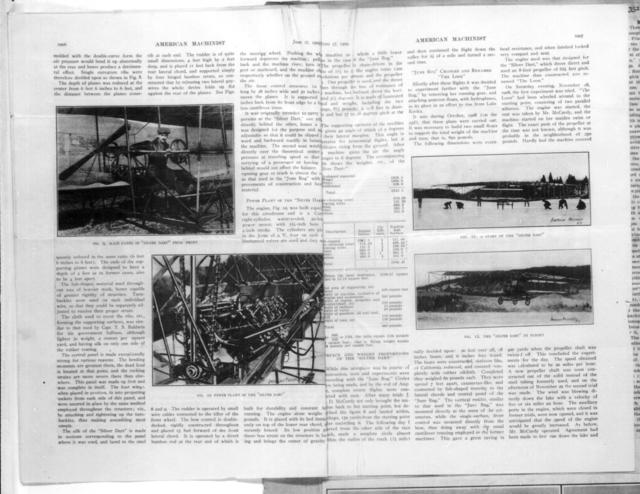 Aeroplanes of Aerial Experimental Association [G.H. Curtiss, American Machinist, 17 June 1909]
