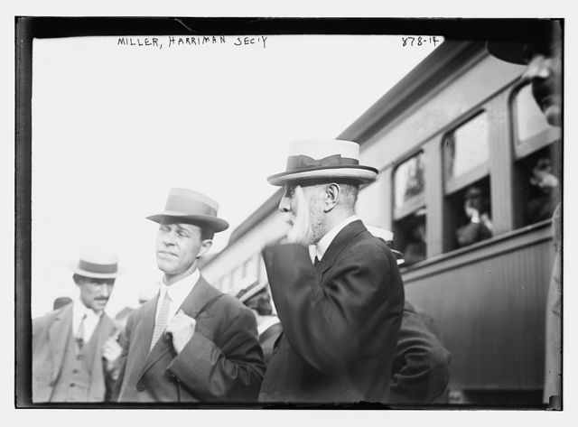 Alex. Miller, Harriman's secretary, with others outside Harriman special train