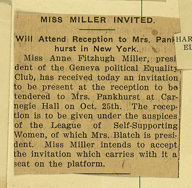 Anne F. Miller Invited to Pankhurst Reception, Carnegie Hall