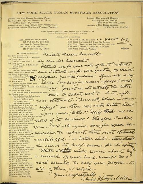 Anne Fitzhugh Miller, Legislative Committee, New York State Woman Suffrage Association, to President Theodore Roosevelt