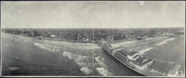 Atlantic City, N.J. from Lawrence Captive Airship, 500 feet above boardwalk, 1909