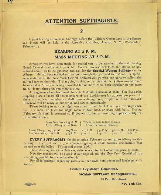 Attention Suffragists; Hearing at 2 pm; Mass Meeting at 8 pm, Albany