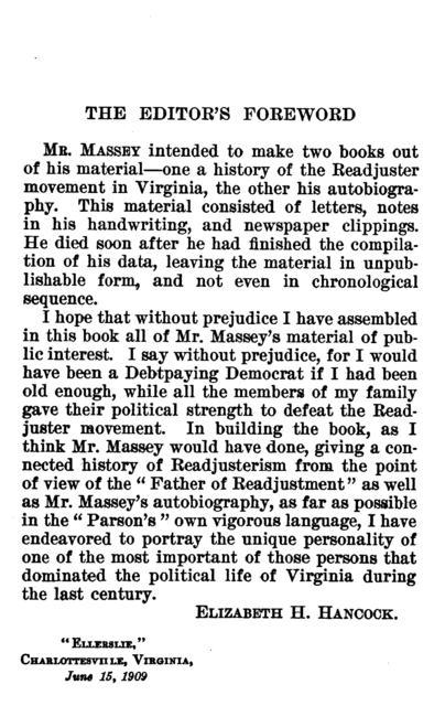 Autobiography of John E. Massey; ed. by Elizabeth H. Hancock.