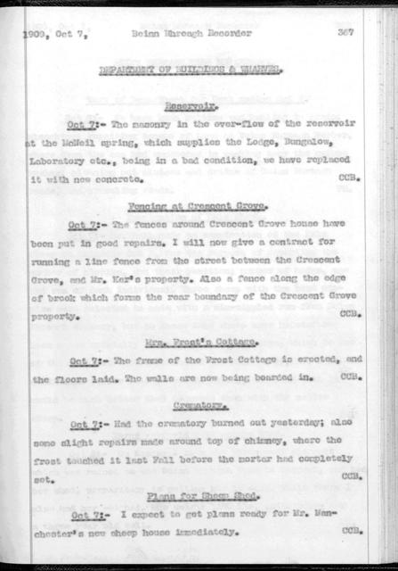 Beinn Bhreagh Recorder by Alexander Graham Bell, from July 24, 1909 to October 19, 1909