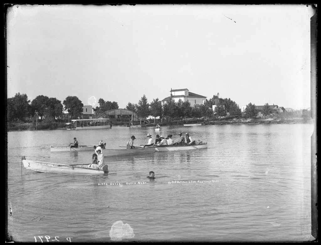 Boats and swimmers at Lake Doris on the Middle Loup Rivers at West Union, Nebraska.