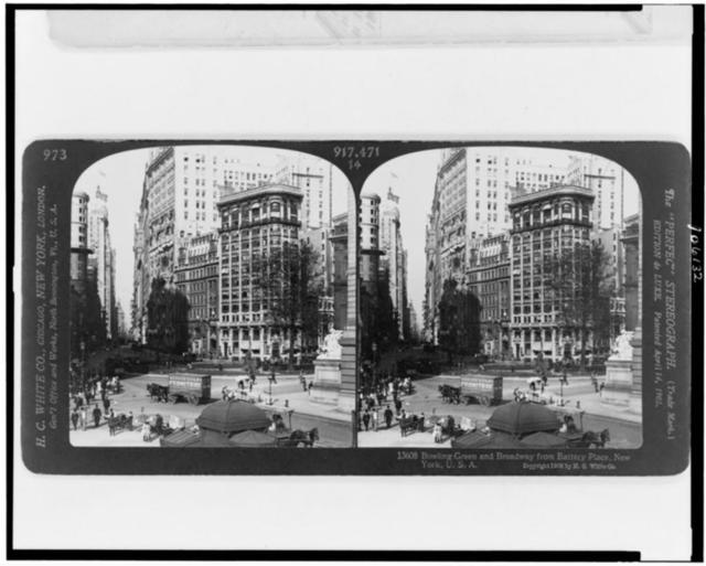 Bowling Green and Broadway from Battery Place, New York, U.S.A.