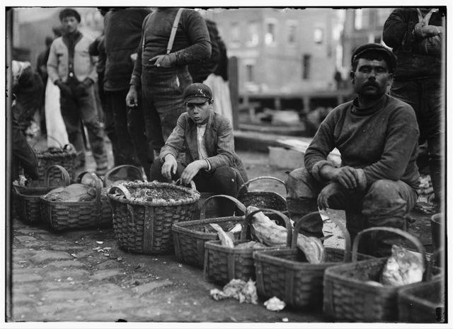 Boy selling fish in market.  Location: Boston, Massachusetts.