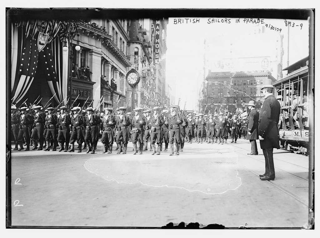 British soldiers parade on street, New York