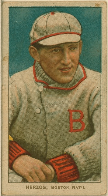 [Buck Herzog, Boston Doves, baseball card portrait]