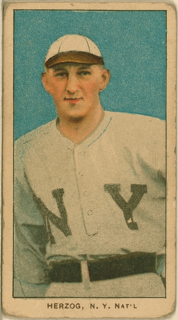 [Buck Herzog, New York Giants, baseball card portrait]