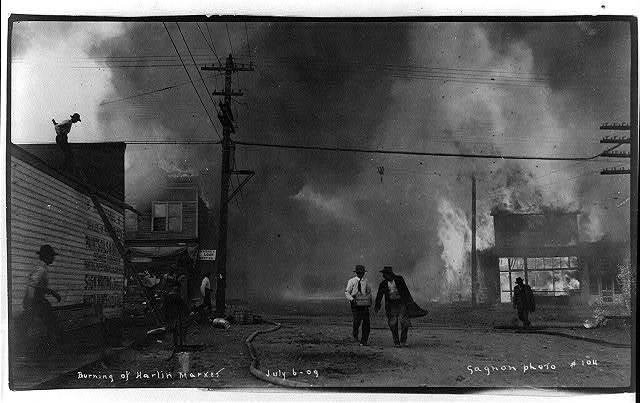 Burning of Harlin Market, July 6, 1909