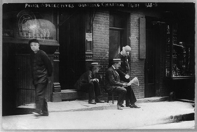 Chinatown, N.Y.C. - police and detectives guarding Chinatown, July 6, 1909