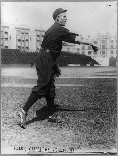 [Clark Griffith, manager of Cincinnati National League baseball team, throwing ball]