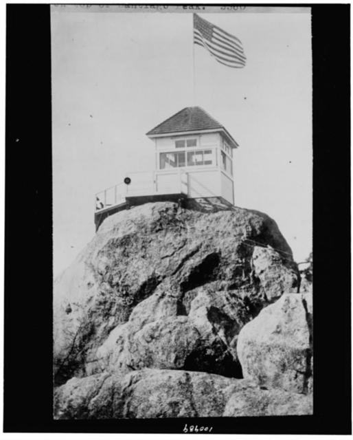 [Cleveland National Forest, California. Fire lookout building on top of Santiago Peak]