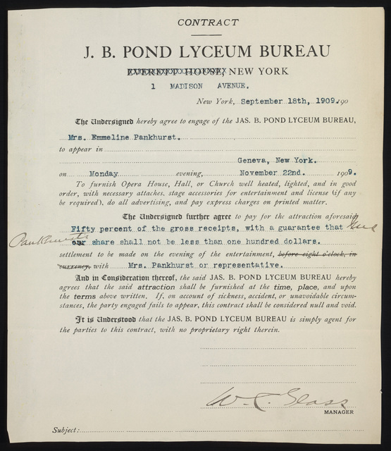 Contract with J.B. Pond Lyceum Bureau to engage Emmeline Pankhurst to speak in Geneva