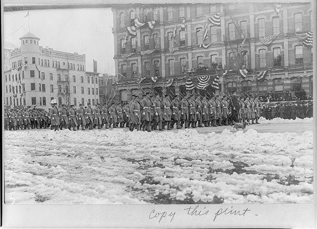 [D.C. Wash. - U.S. Marine Corps marching in Taft inaugural parade on Pennsylvania Ave.; dog mascot in front]