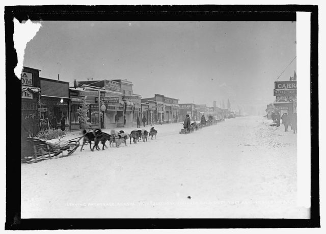 Dog team leaving Anchorage, Alaska; these teams carried $265000 in gold [...]