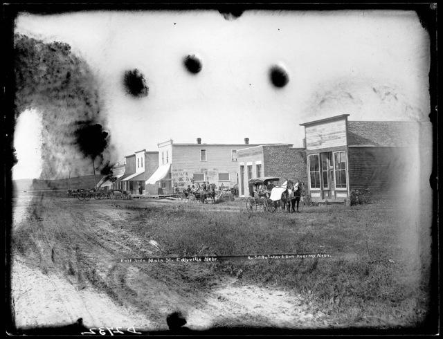 East side of main street in Eddyville, Nebraska.