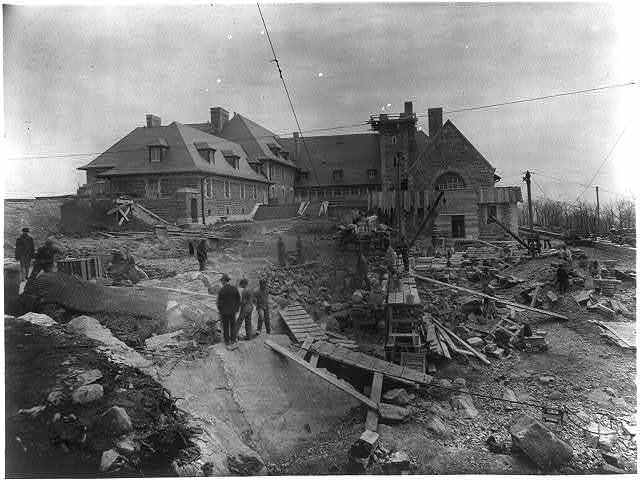 [Edward Henry Harriman's new country place at Arden, N.Y. - looking south, with construction going on in foreground]