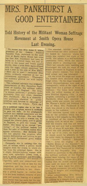 Emmeline Pankhurst a Good Entertainer