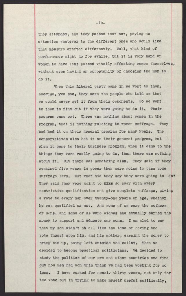 Enclosure: Emmeline Pankhurst's Speech at Smith Opera House, Geneva, New York