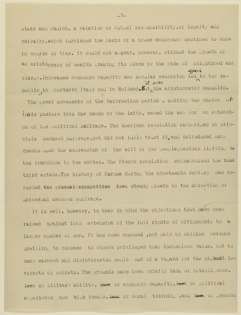 Enclosure: Government by the People: Speech by Nathaniel Schmidt, Cornell professor, at Sixth Annual Convention of Ontario County Woman Suffrage Association