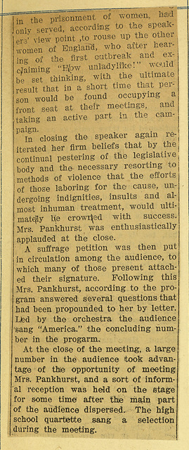 English Women's Rights Upheld By an Able Champion, Emmeline Pankhurst; page 3