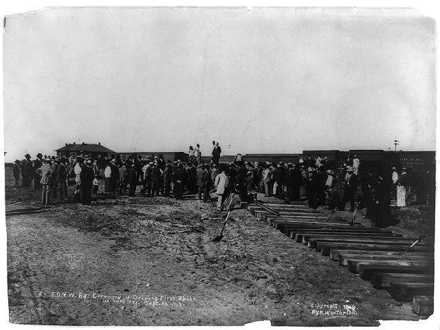 E.O. & W. RY.: Ceremony of driving first spike--Dalhart, Tex.--Sept. 29, 1909