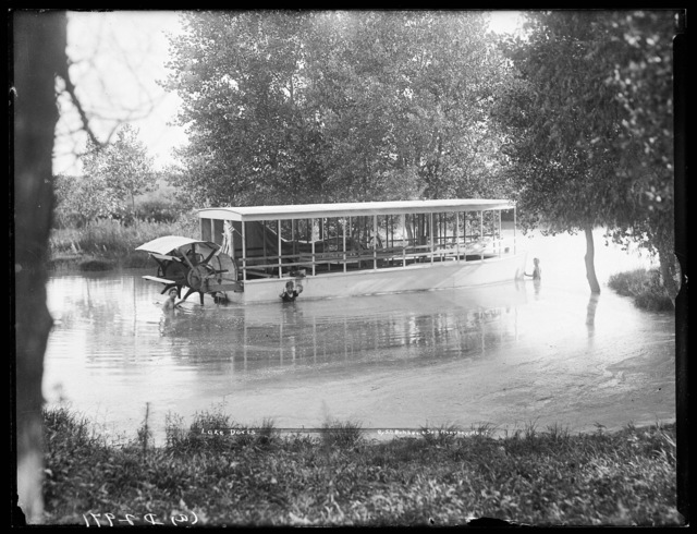 Excursion boat and swimmers at Lake Doris on the Middle Loup Rivers at West Union, Nebraska.