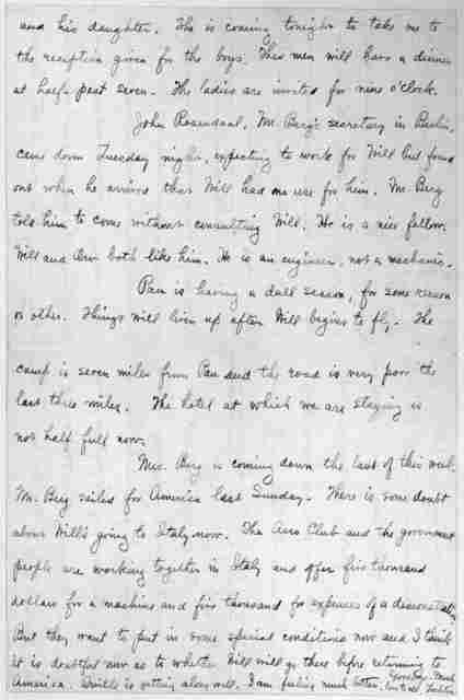 Family Papers:  Correspondence--Wright, Katharine, January-February 1909