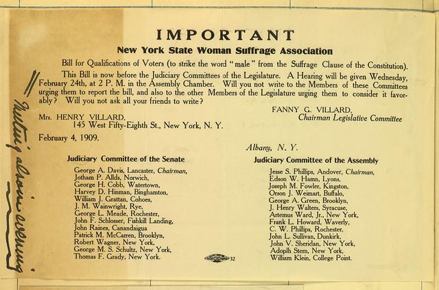 Fanny G. Villard, Chairman, Legislative Committee, New York State Woman Suffrage Association to members