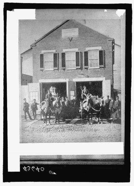 Fire house with horse drawn engines, Wash., D.C.