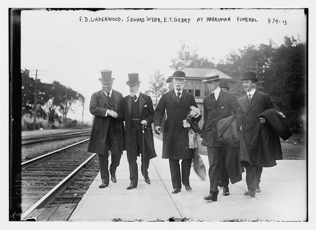 F.K. Underwood, Seward, Webb, E.T. Gerry, on train tracks for Harriman funeral