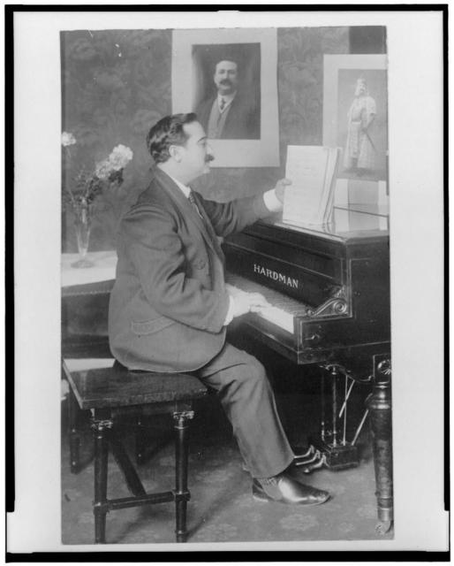[Florencio Constantino, full-length portrait, seated at piano, facing right]