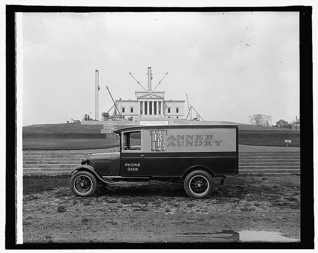 Ford Motor Co., Banner Laundry truck at Geo. Wash. Mem., [Alexandria, Va.]