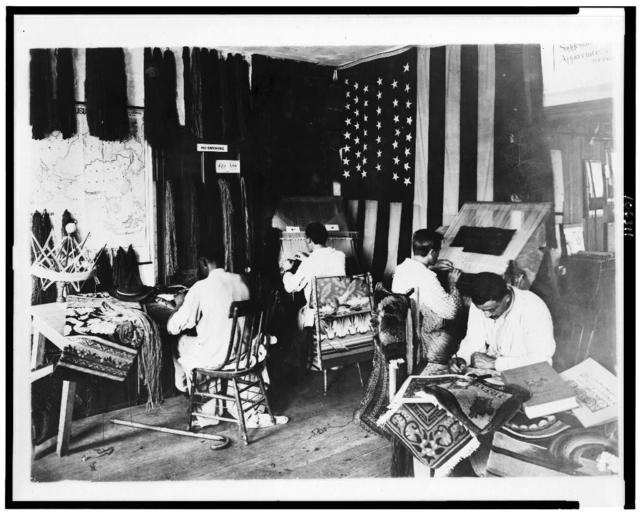 [Four disabled veterans working in reconstruction section, Walter Reed Hospital]