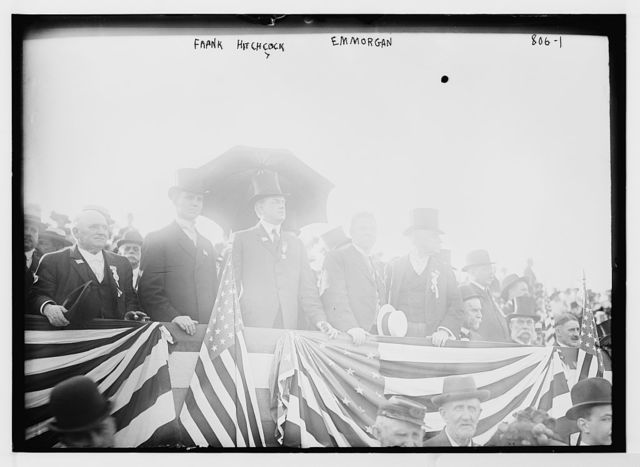 Frank Hitchcock, E.M. Morgan and others on speakers stand, Jersey City, N.J.