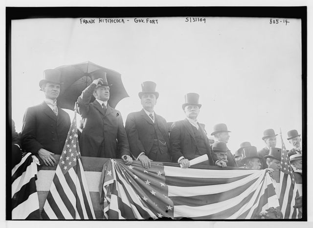 Frank Hitchcock, Gov. Fort, and others on speakers stand, Jersey City, N.J.