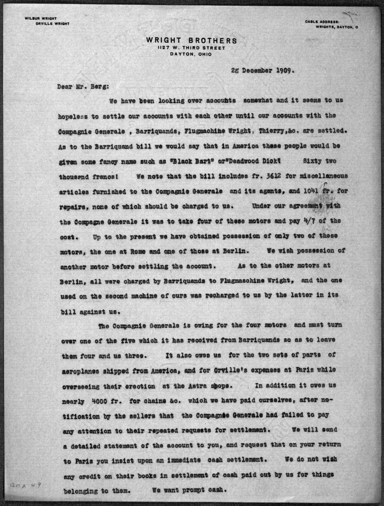 General Correspondence:  Berg, Hart O., 1909