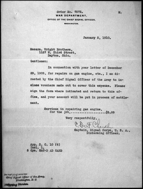 General Correspondence:  Chandler, Charles DeForest, 1909-1911