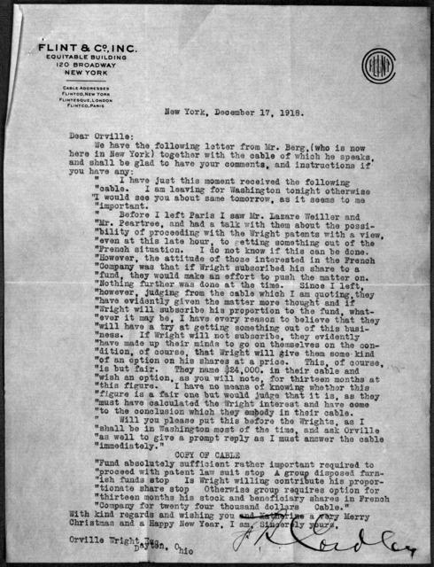 General Correspondence:  Cordley, Frank R., 1909-1919