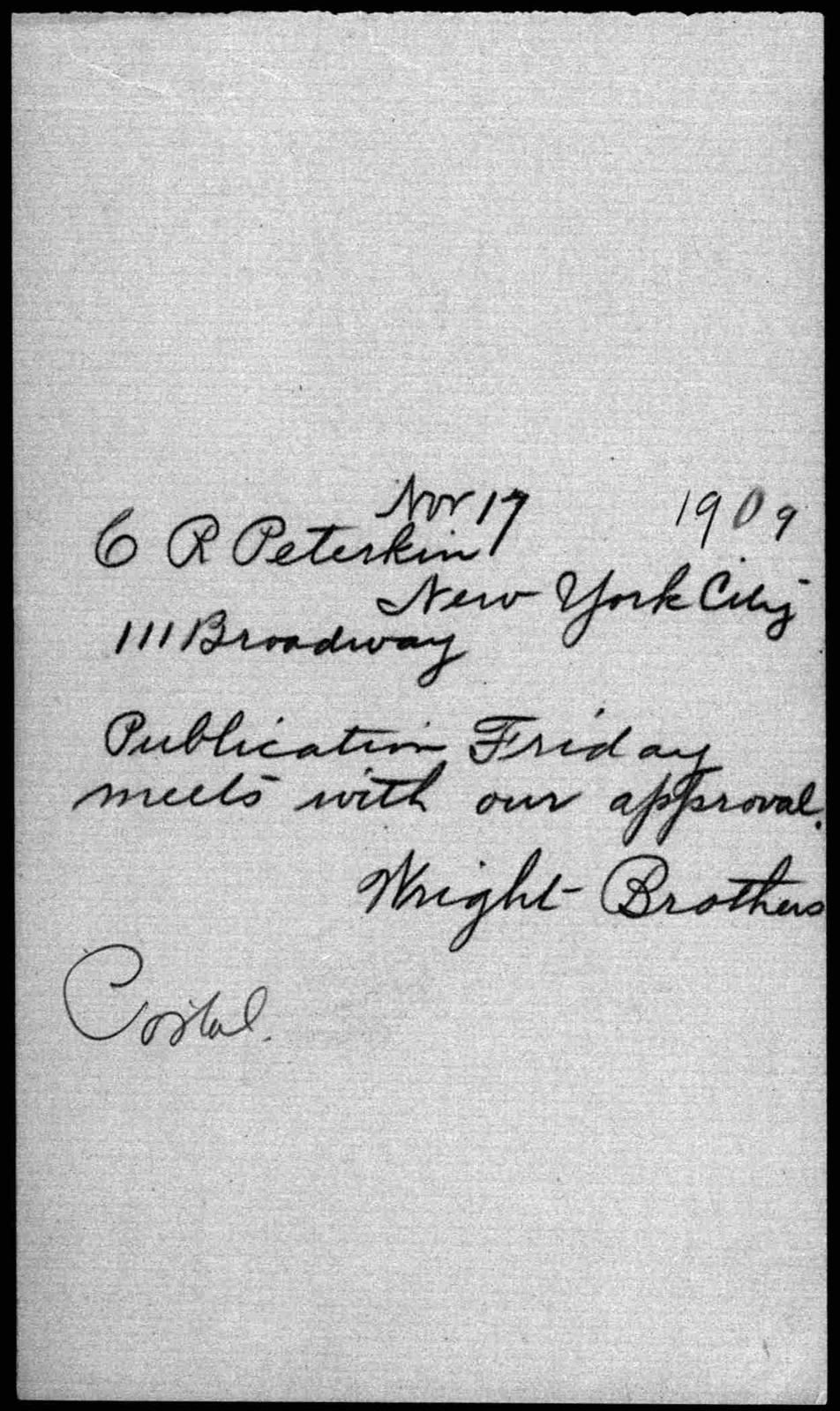 General Correspondence:  Peterkin, Clinton R., 1909-1910, 1931, undated