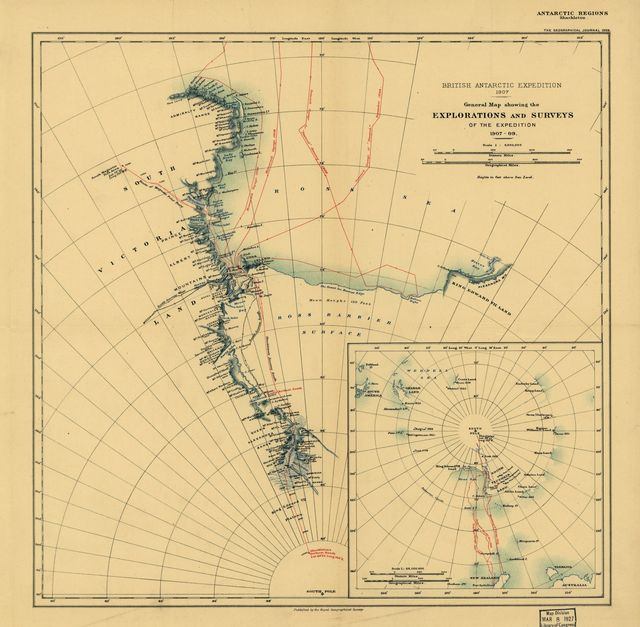 General Map showing the Explorations and Surveys of the Expedition, 1907-09.