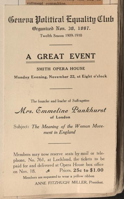 Geneva Political Equality Club; A Great Event; Smith Opera House; Mrs. Emmeline Pankhurst