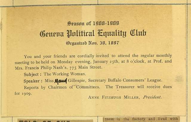 Geneva Political Equality Club meeting notice held at home of Professor and Mrs. Francis Philip Nash